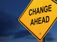 Image of yellow diamond traffic sign with the words Change Ahead.