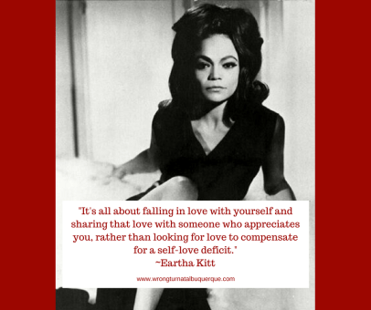 Image of a young Eartha Kitt with a quote about self love.