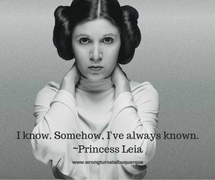 "Image of Princess Leia with the quote, ""I know. Somehow, I've always known."""
