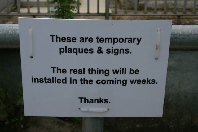Temporary Plaques