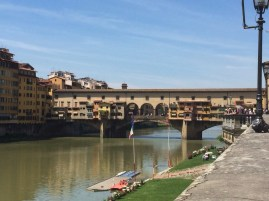 The Iconic Old Bridge, which is lined on either side by goldsmiths and jewellers, Firenze.