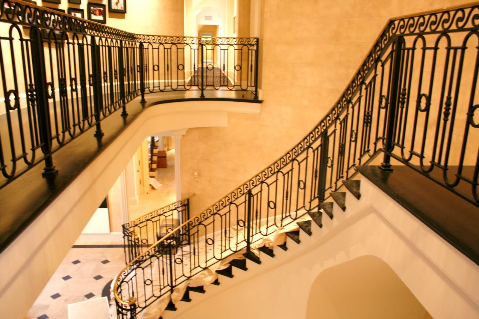 Wrought Iron Outdoor Stair Railings Made To Order | Outdoor Iron Stair Railing | Porch | Iron Pipe | Commercial | Galvanized Iron | Redwood