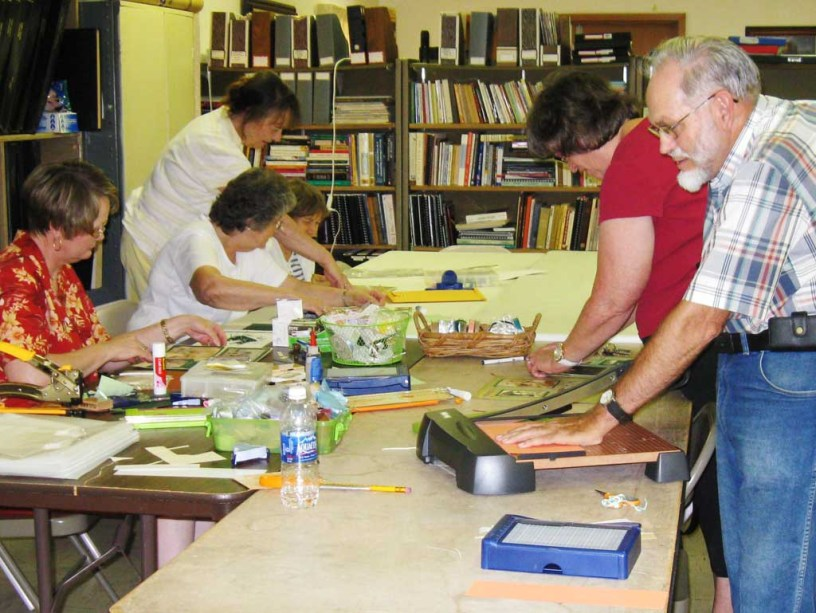 Workshop participants work on scrapbooking