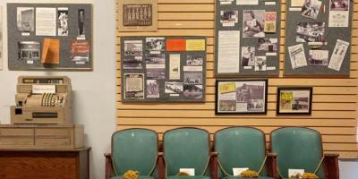 The Jim Owen display wall at the Branson Centennial Museum