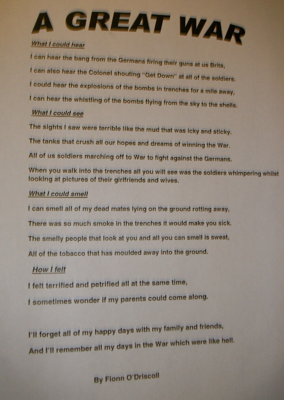 Burghead P7 WW1 themed poems  Moray Heritage Memory Project