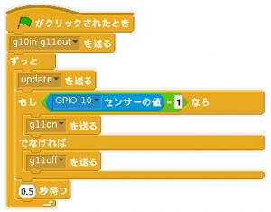 スイッチを付けたらLEDが光るのサンプル。ブロックを組み合わせてプログラムを作ります。