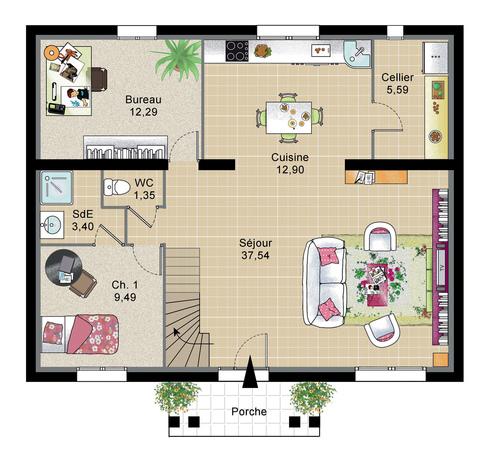 Plan de maison  Maison parisienne  Faire construire sa maison