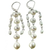 Genuine Pearl String Chandelier Earrings