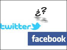 Logos de Twitter y Facebook con preguntas