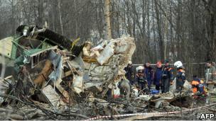 Место крушения самолета президента Польши