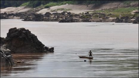 Dòng Mekong đoạn gần Paksey, nơi Lào dự định xây đập Xayaburi