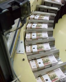 Impresión de rublos en Rusia