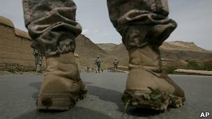 Soldado estadounidense en Afganistán. Foto de archivo
