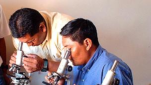 Jóvenes durante el curso para la formación de técnicos en biología
