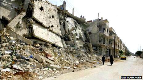 Distritio de localidad de Baba Amr en ruinas