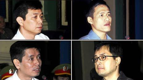 Bốn bị cáo trong vụ án Lê Công Định