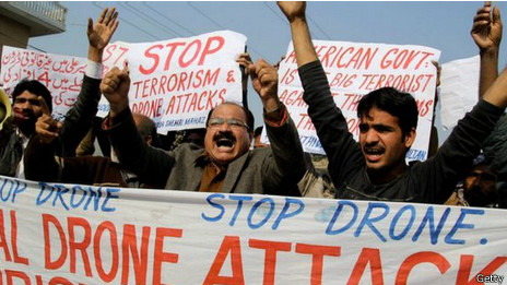 Protesta en contra del uso de drones