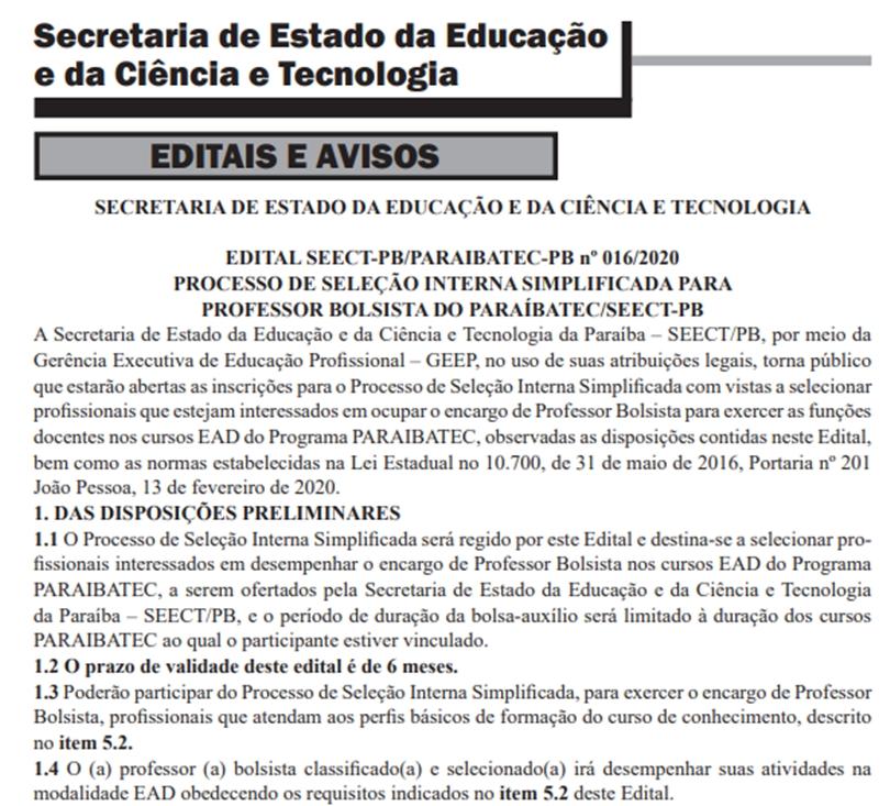 01 1 - Governo do Estado divulga edital de seleção para professores bolsistas do ParaíbaTec