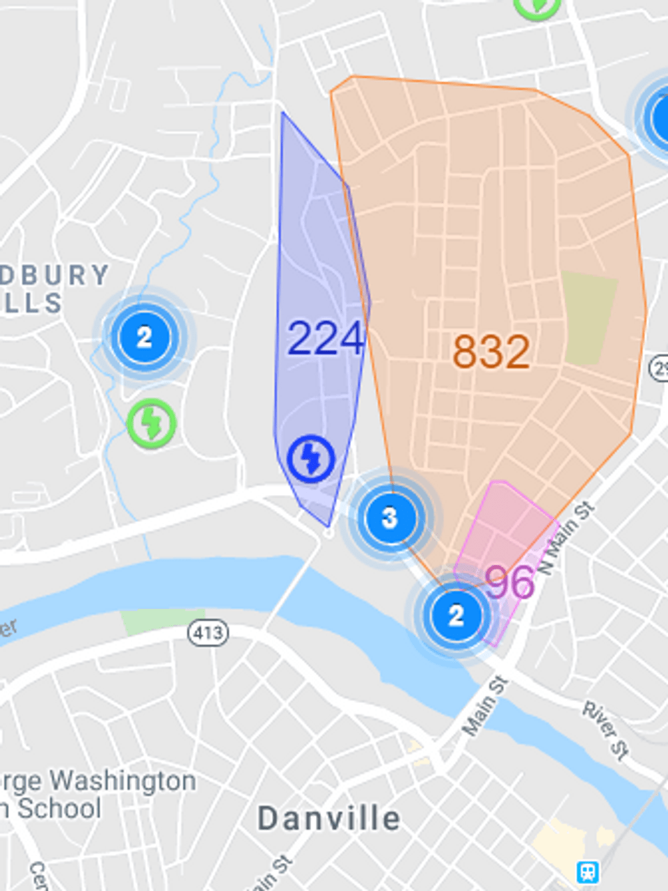 Rge Power Outages Map : power, outages, Power, Restored, 1,300, Danville, Following, Storm