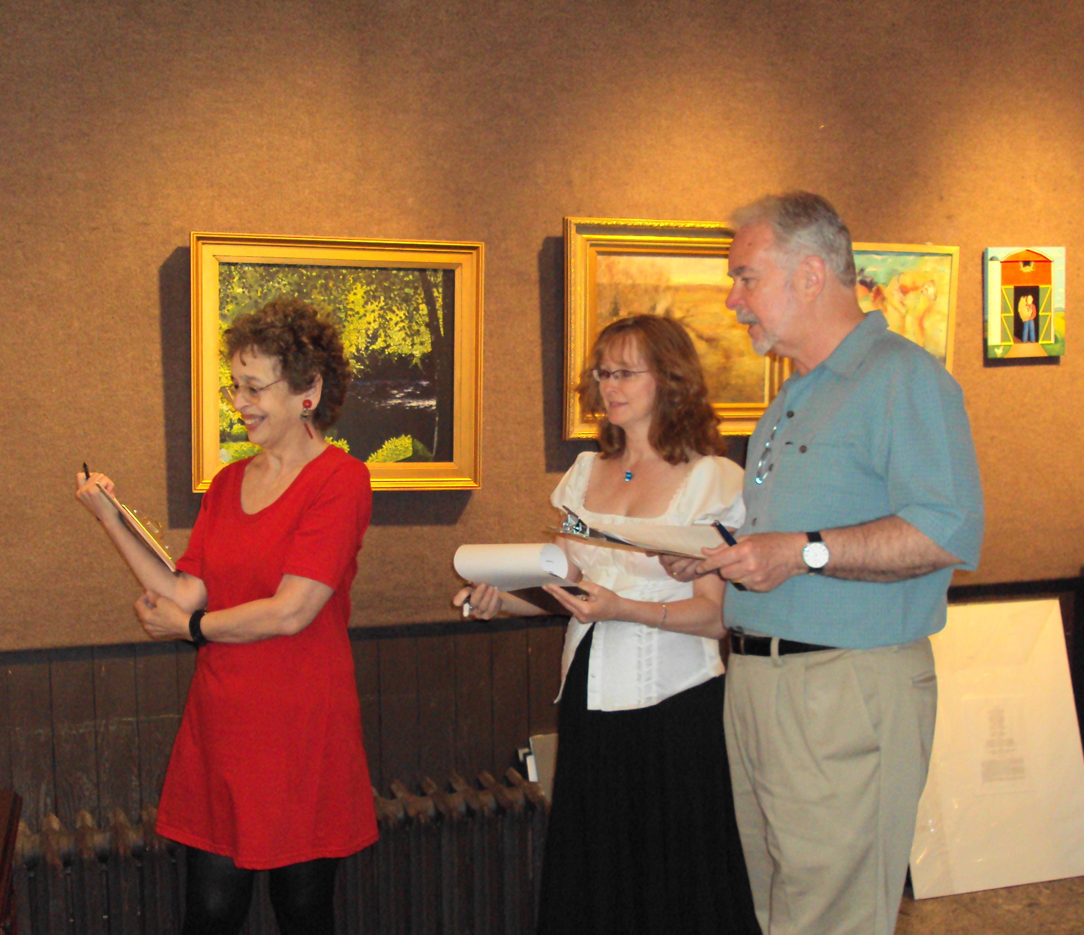 Jurying for the Spring Show: Bernice Sokol Kramer, Janet Cook and Bill Behnken