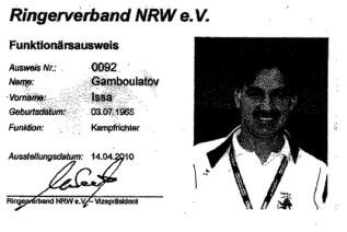 Удостоверение судьи немецкой национальной категории