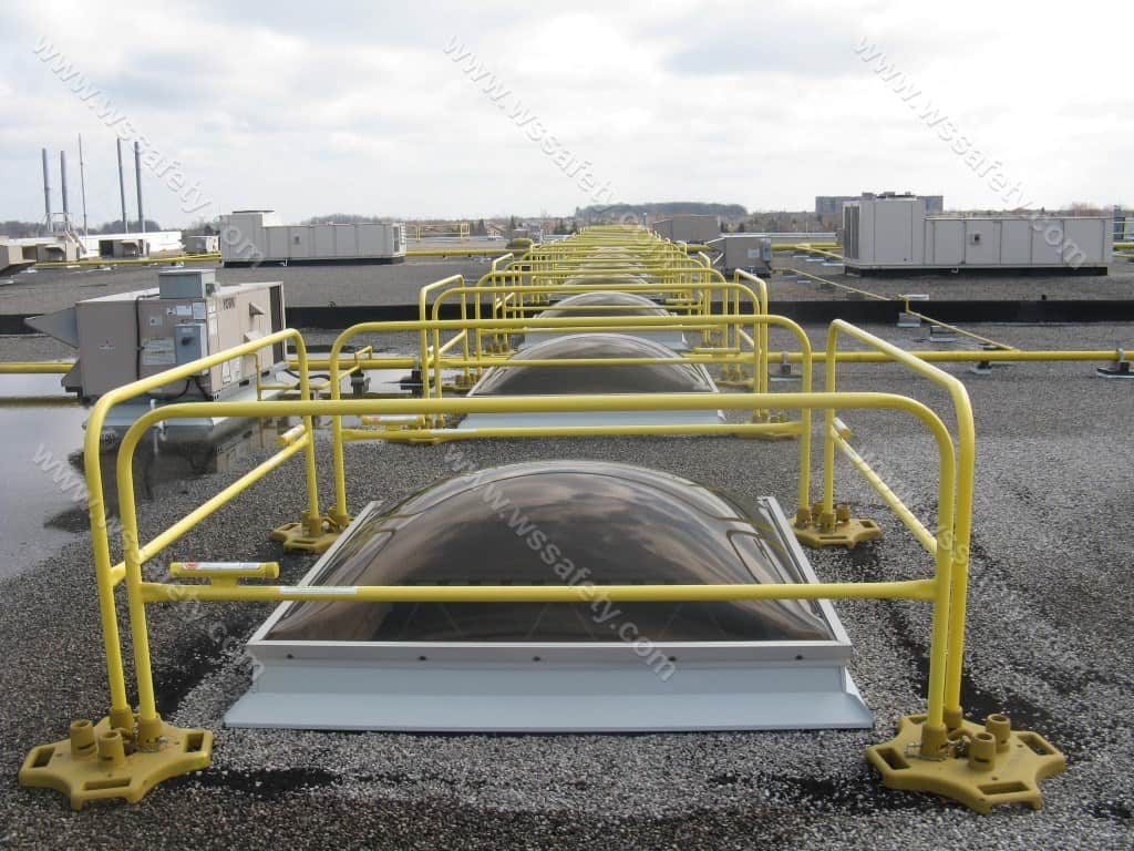 Skylight fall protection guardrails