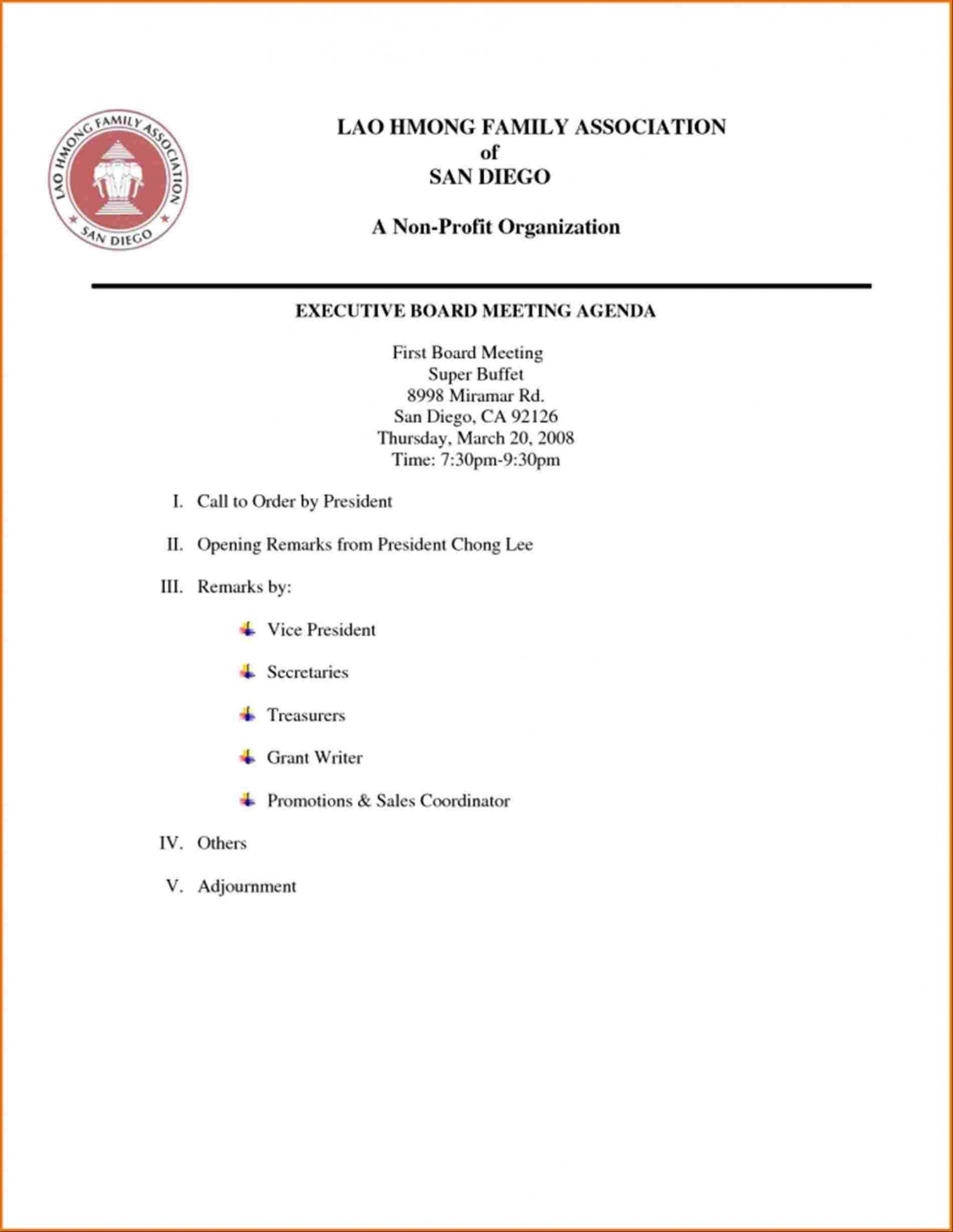 Before the meeting, create a space for suggested meeting topics. First Board Meeting Agenda Template