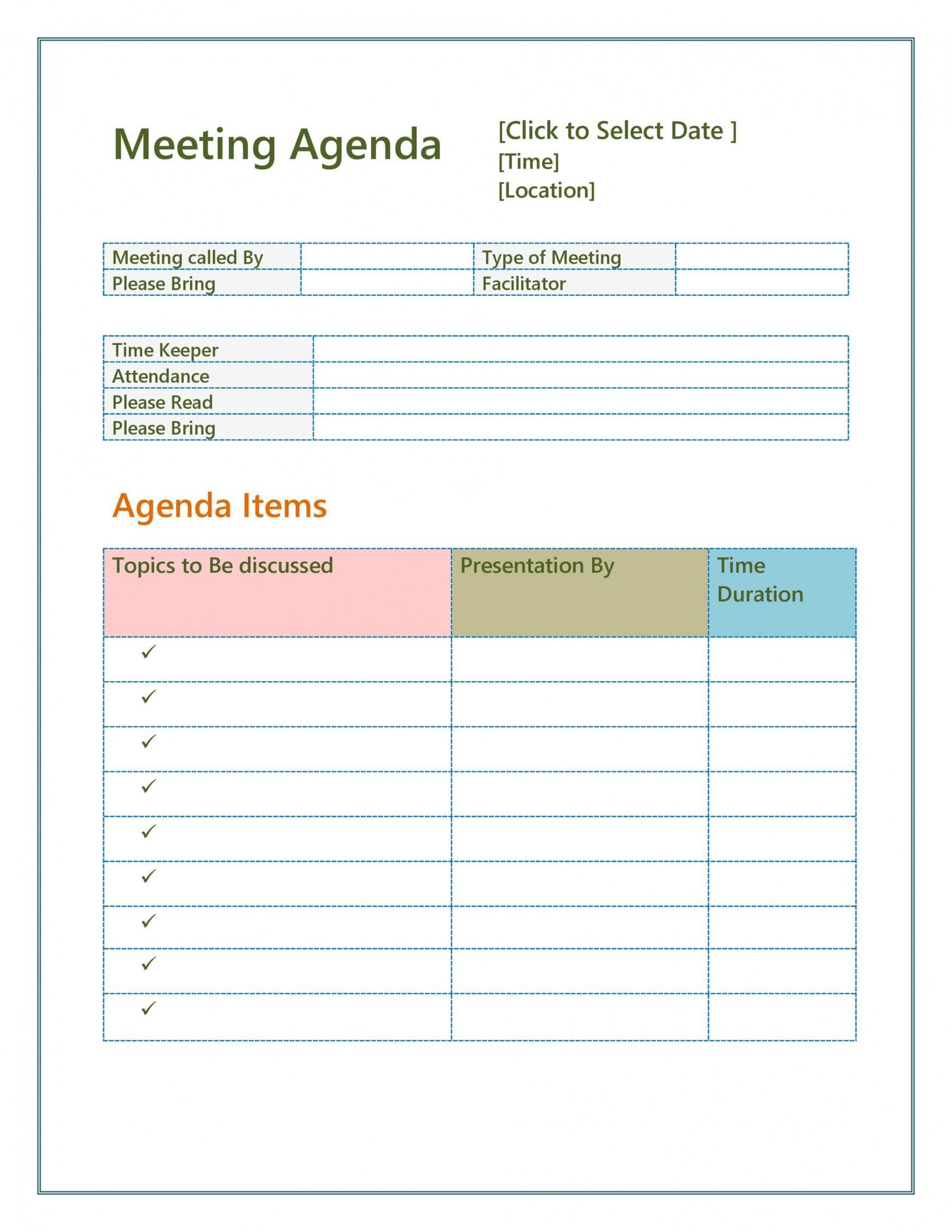 To replace text on the agenda template, just select a paragraph and start typing. Meeting Agenda Template Word Free