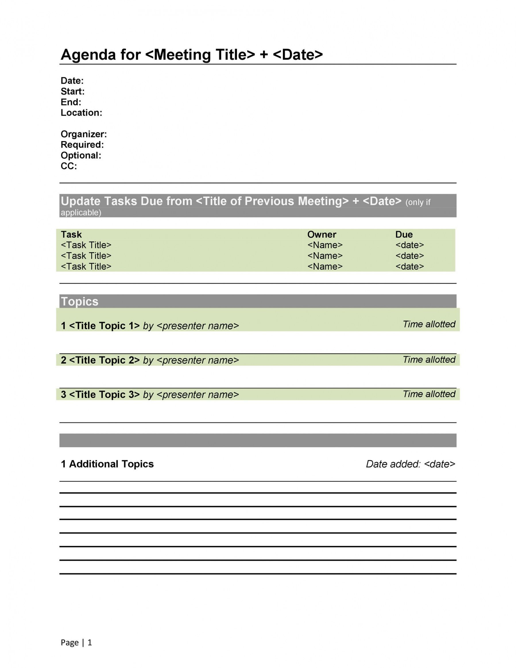 It's hard enough managing your own time. Free Meeting Agenda Template Word