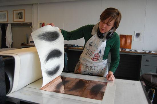 Antonia Aitken in the etching studio