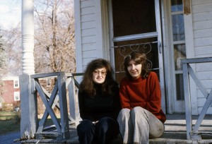 WSW founders Tatana Kellner and Anita Wetzel, circa 1974, on the front stoop of our first home a rented property in Rosendale.