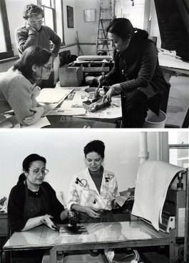 Top: Zarina shares her paper casting techniques in 1983. Bottom: Zarina prints TKTKTKT alongside Ann Kalmbach in 1991.