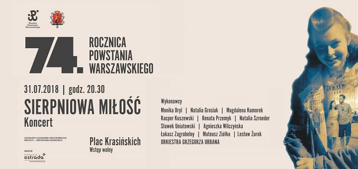 """Koncert """"Sierpniowa miłość"""" z okazji 74. rocznicy Powstania Warszawskiego"""