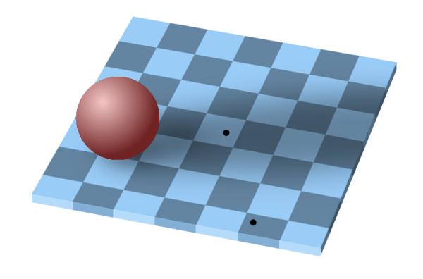 тень на шахматной доске, показывающая относительное восприятие цвета