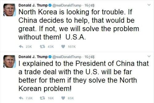 美國總統川普在推特發文 再度引發朝鮮半島緊張情勢升溫p1156-a4-01a