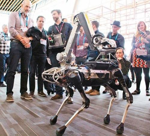 Alphabet集團旗下機器人公司波士頓動力的Spot機器狗,日前在加拿大溫哥華的TED會議上與觀眾互動。公司創辦人雷柏特表示,機器狗照顧長輩或協助子女照顧我們這一代,為時不遠。 p1158-a4-03