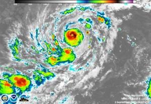 美國颶風探測中心對艾爾瑪颶風走向預測圖