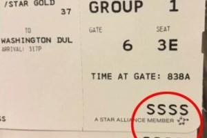 若發現登機証有這串「SSSS」神秘代碼,這代表將面臨第二次安檢