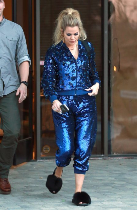 52281285 TV personality Khloe Kardashian was spotted leaving a studio dressed in a blue sequin jogging suit in Westlake, California on January 12, 2017. FameFlynet, Inc - Beverly Hills, CA, USA - +1 (310) 505-9876