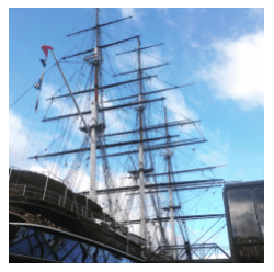 Cutty Sark as it stands now. Clearly not fully rigged. Original photograph.