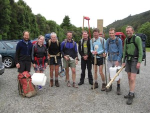 "Team shot pre-work party ""Mountain House Facelift Team"".  Punters are (left to right): John Duggan, Sarah Duggan, John Rhodes, Andrew McLellan, James Beard, John Thomson, Phil Kendon and Stuart Palmer"
