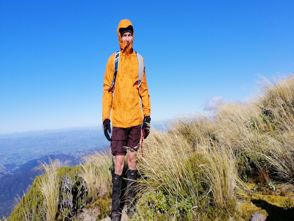 Tramper standing on a ridge, Tararua Ranges