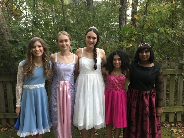 During Christina's sophomore year of high school, she made these dresses for herself and four friends.  Each dress was based on a princess theme and was tailored to each girl's personality.  (Courtesy Nicole Mellott)