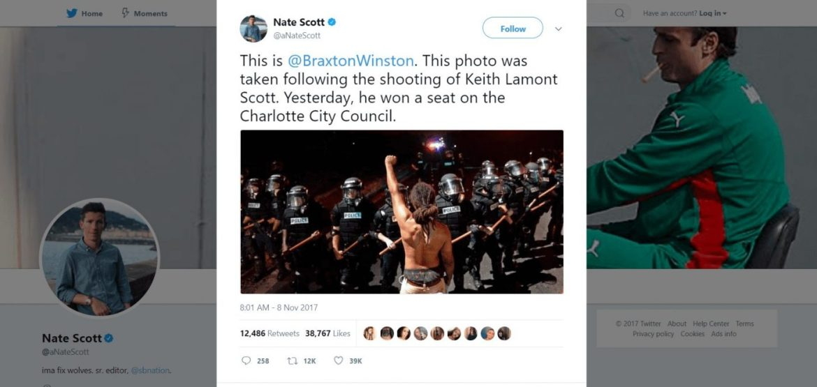 Nate Scott Twitter profile showing a tweet e posted on Nov 8th 2017