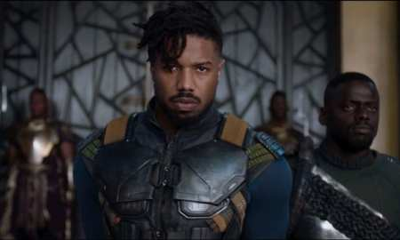 Michael B Jordan as Killmonger and Daniel Kaluuya as W'Kabi in Black Panther