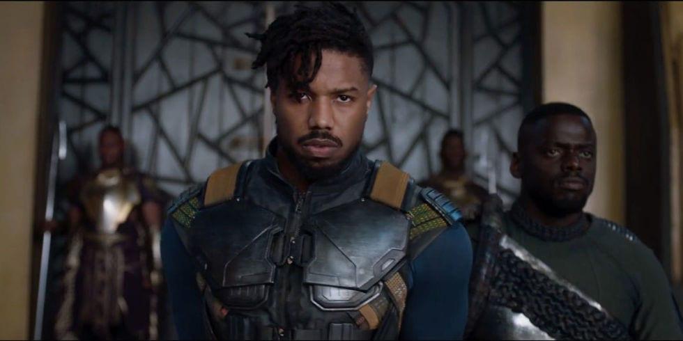 Michael B Jordan as Killmonger and Daniel Kaluuya as W'Kabi in Black Panther