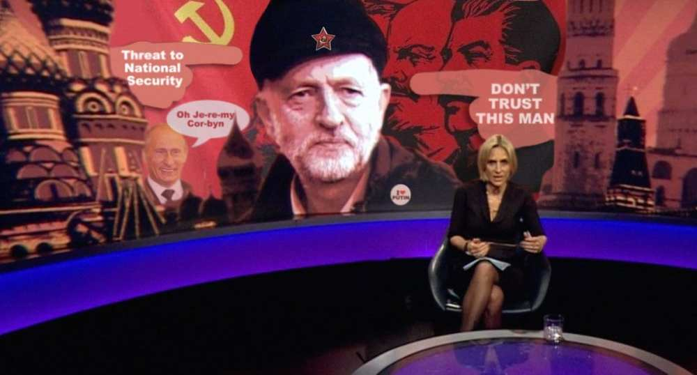 BBC Newsnight showing an image of Corbyn - Propaganda