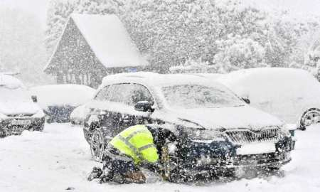 """Icey temperatures persist across the country. A blast of Siberian weather dubbed """"The Beast from the East"""" sent temperatures plunging across much of the country down to -12"""