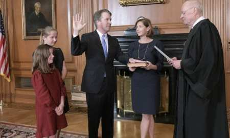Brett Kavanaugh, swearing in as ceremony as a US Supreme Court Judge