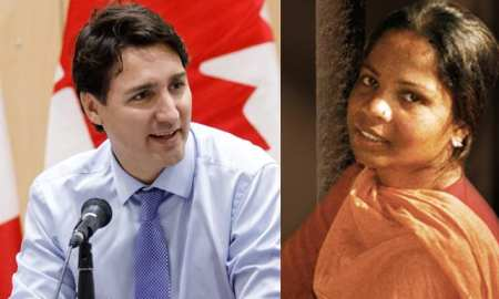 Pictured -Justin Trudeau - PM of Canada and Asia Bibi who landed safely in Canada last week